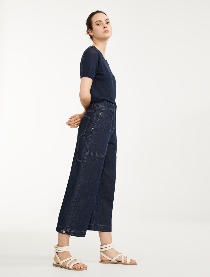 Pantaloni in denim di cotone e lino Weekend Maxmara