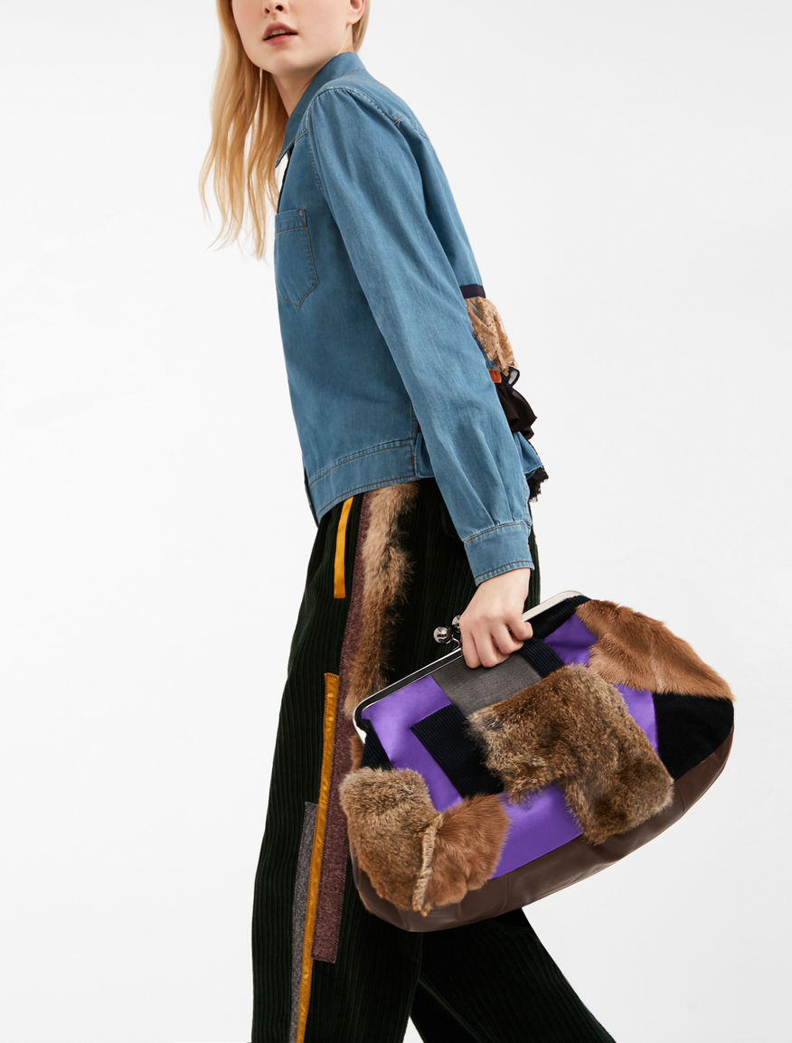 Maxi leather and fur Pasticcino Bag Weekend Maxmara