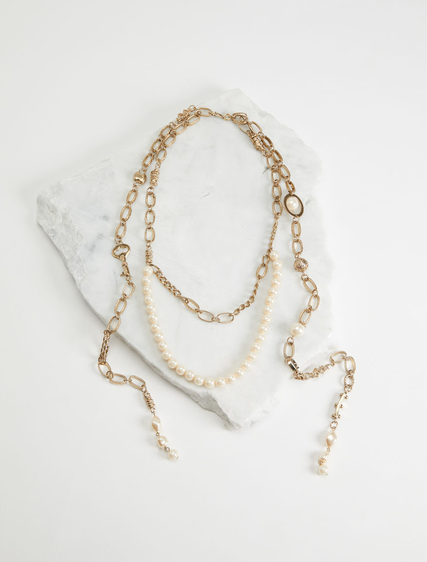 Double turn metal necklace with beads Weekend Maxmara