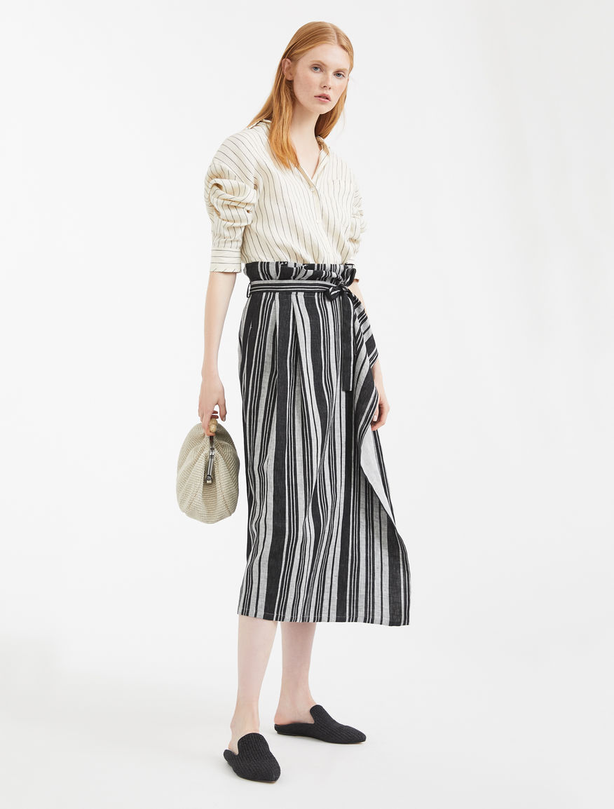 Skirt in woven cotton and linen Weekend Maxmara