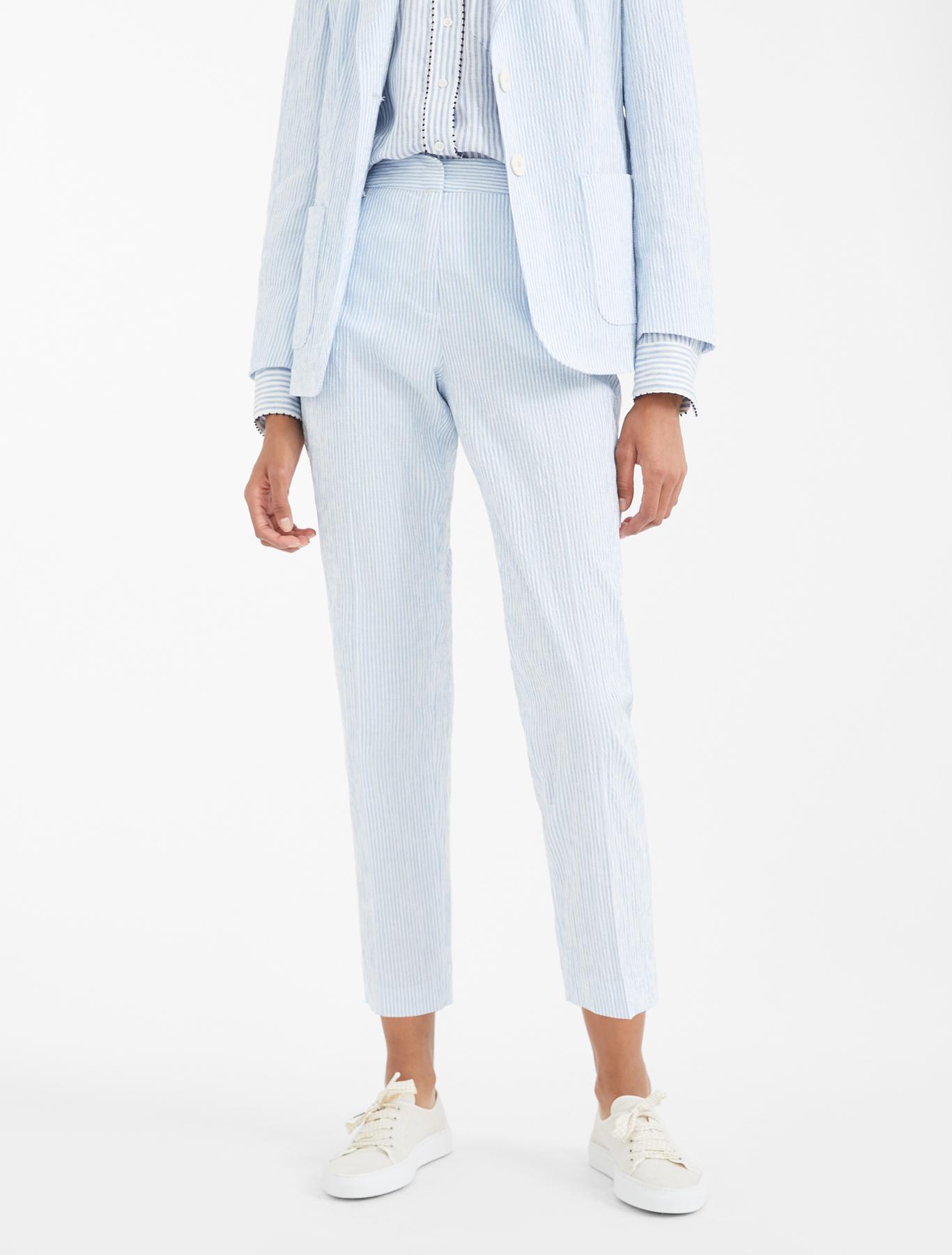 Linen And Cotton Seersucker Trousers Light Blue Weekend Max Mara