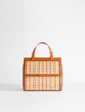 Boston bag in straw and leather Weekend Maxmara