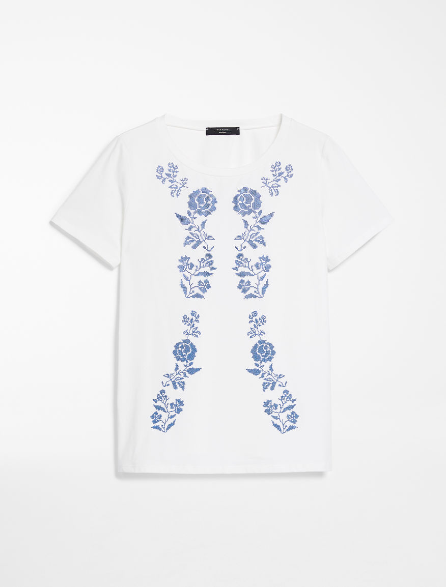 Embroidered cotton jersey T-shirt Weekend Maxmara