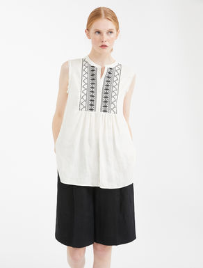 Embroidered linen and jersey top Weekend Maxmara