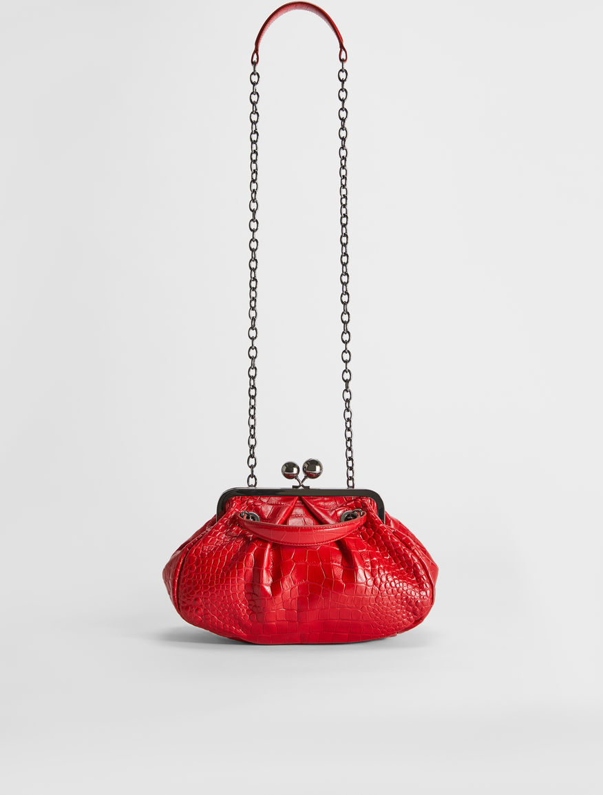 Croc-print leather Pasticcino Bag Weekend Maxmara