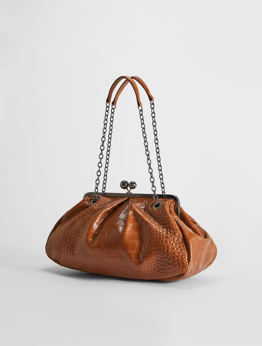 Large croc-print leather Pasticcino Bag Weekend Maxmara