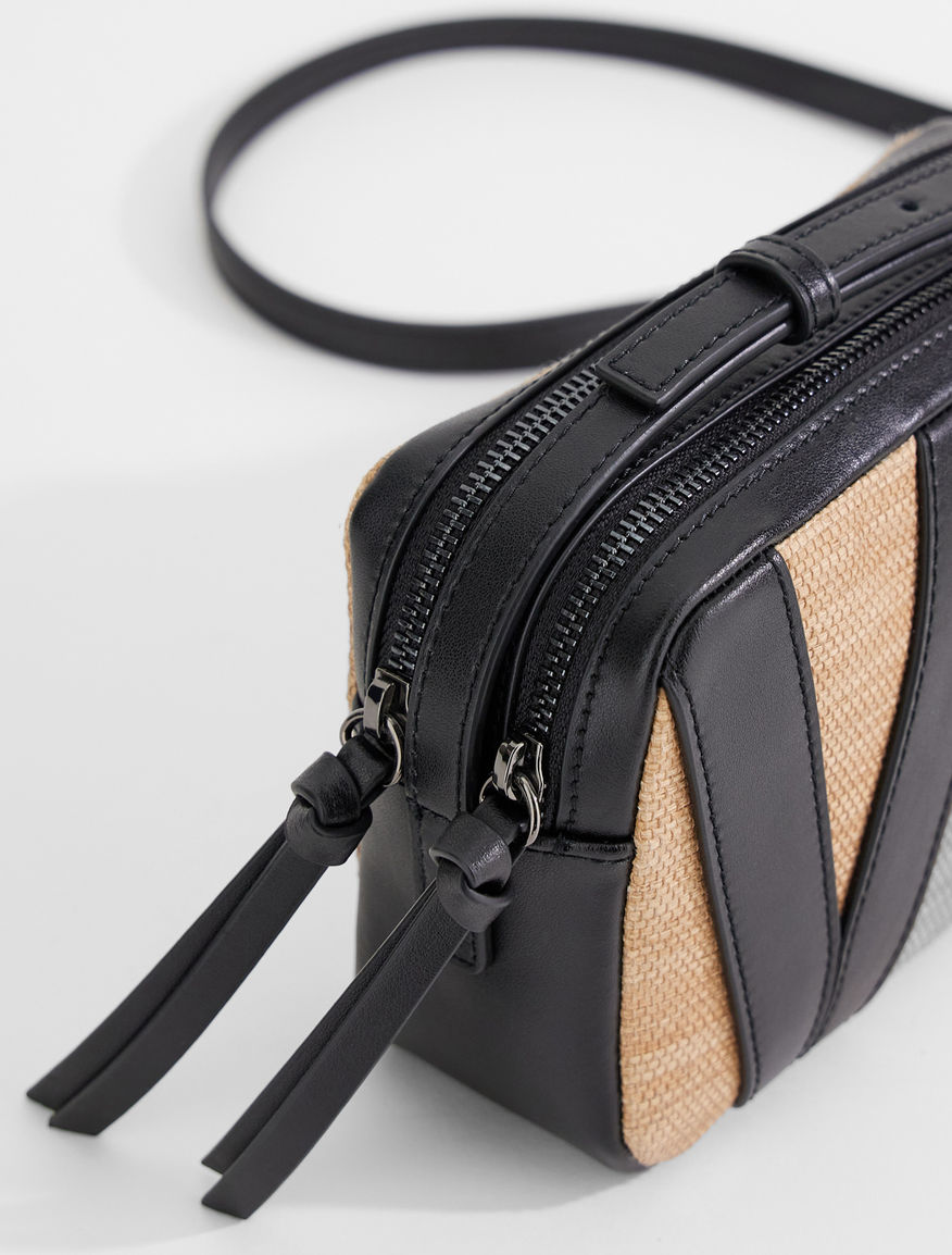Straw effect canvas camera bag Weekend Maxmara