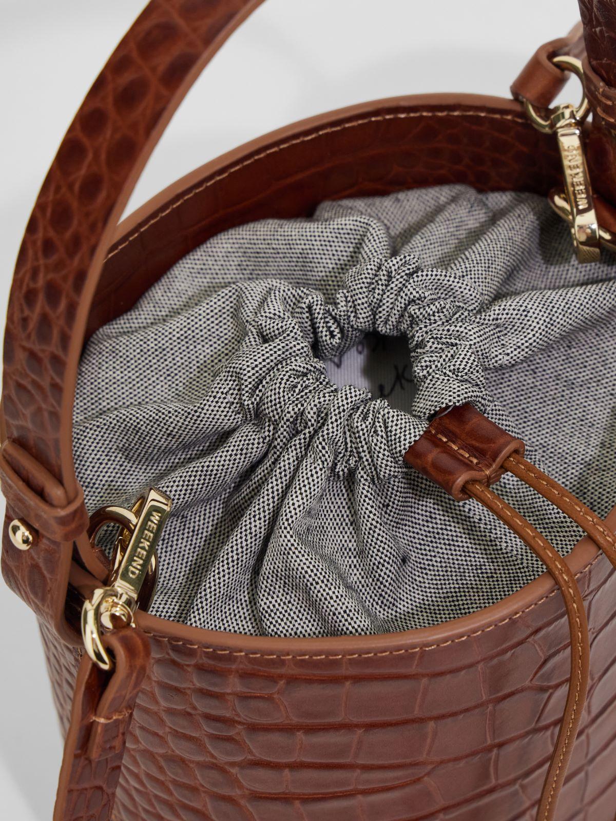 Bucket bag in crocodile print leather Weekend Maxmara